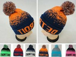 24PC Lot DETROIT Blue Orange Digital Fade Beanie PomPom Tobo