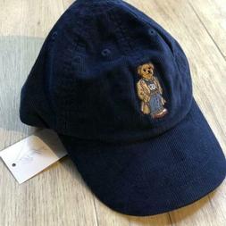 Polo Ralph Lauren Baseball Cap Hat Bear Corduroy Navy One Si
