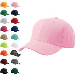 Baseball Cap Plain Kids Girls Strapback Solid Hats Polo Styl
