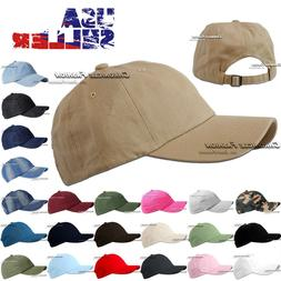 Baseball Cap Washed Cotton Hat Polo Style Adjustable Solid P