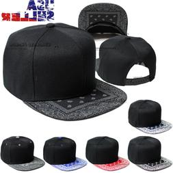 Bandana Baseball Cap Snapback Adjustable Hat Flat Hip Hop Bl