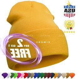 Cuff Beanie Plain Knit Hat Winter Solid Cap Slouchy Skull Sk