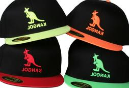 Kangol Black & Neon Baseball Hat Fitted Flexfit Premium Red