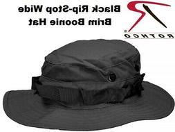 Black Military Police Tactical Wide Brim Pol/Cot Rip-Stop Bu