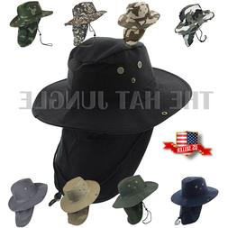 Boonie Hat Neck Flap Fishing Hiking Outdoor Summer Cap Milit
