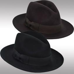Brand New Men's Wool Felt Gambler Porkpie Fedora Flat Brim F