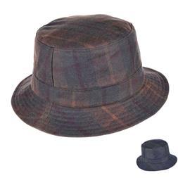 British Tartan Waxed Cotton Bucket Hat Water Resistant Check