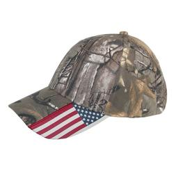 Realtree Xtra Unisex Camo and American Flag Baseball Hat