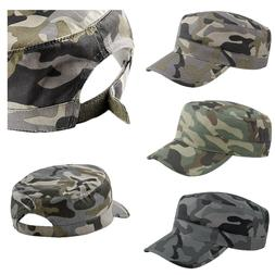 Camouflage Army Hat Camo 100% Cotton  Military Cadet Combat