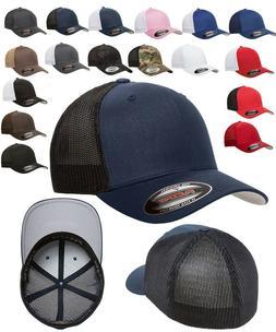FLEXFIT Classic TRUCKER 6-Panel Fitted Baseball Cap HAT New!