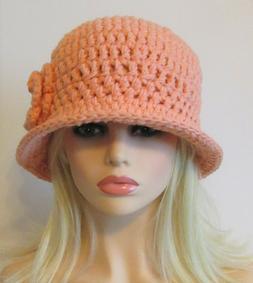CLOCHE BUCKET HAT  CAP WITH BRIM PEACH  WITH FLOWER HANDMADE