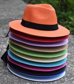 Colorful Mens Women's Summer Fedora Hat, Panama Hat, Flat Br