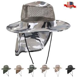 Cotton Boonie Hat for Men with Neck Cover Military Camo Hats