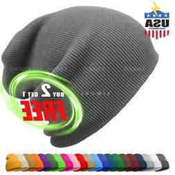 Cuff Beanie Knit Hat Winter Cap Slouchy Skull Ski Solid Men