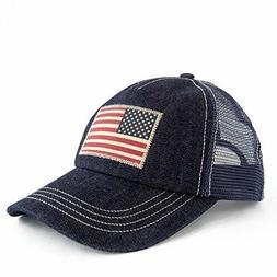 Polo Ralph Lauren Denim Trucker Cap Snapback American Flag M