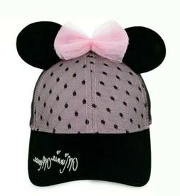 DISNEY Sweet Minnie Mouse Ears Baseball Cap for Women Pink a