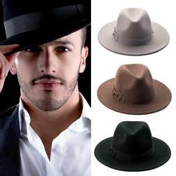 Fedora Wool Felt Wide Brim Hats with Bow Trim -91