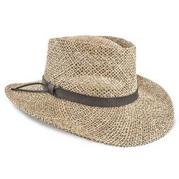 Stetson Gambler Seagrass Straw Outdoorsman Hat Natural - Sma