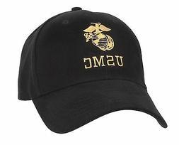 Hat Marines Licensed USMC Insignia Black Baseball Cap Adjust