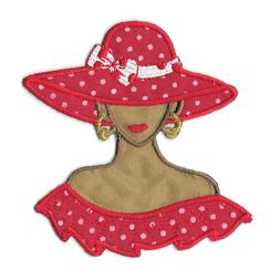 Iron On Tan Red Hat Lady Society Embroidered Patch Applique