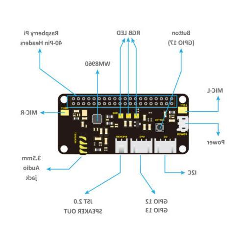KEYESTUDIO ReSpeaker HAT V1.0 for Raspberry Pi Zero W 3 4 Accessories