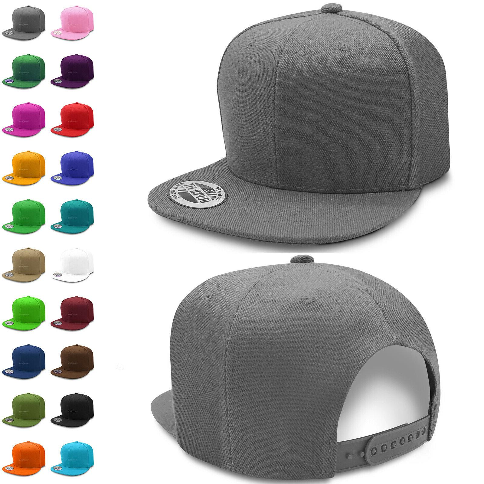 solid snapback hats for wholesale flat brim