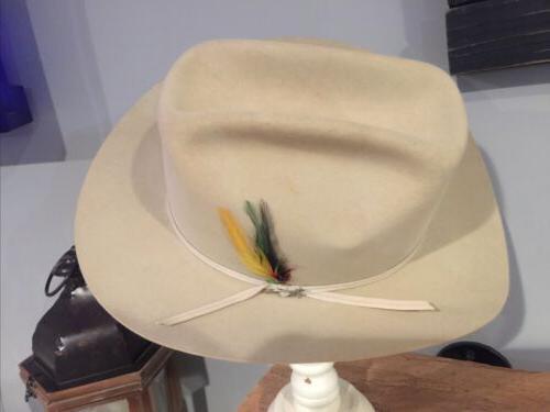 "VINTAGE B ""4X Beaver Cowboy Hat ""Silver Belly"" 1/2"