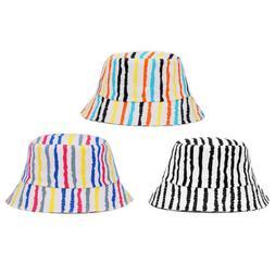 Men Boys Stripe Wide Brim Fishing Hat Folding Anti-UV Travel