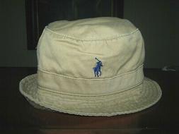 Men's POLO-RALPH LAUREN Beige/ Khaki PONY Bucket Hat