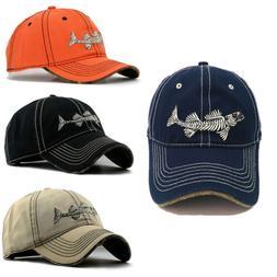 Men's Fishing Hats Baseball Cap Snapback Embroidery Fishbone