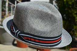 Men's Summer Lightweight Vent Linen Cotton Blend Fedora Pork