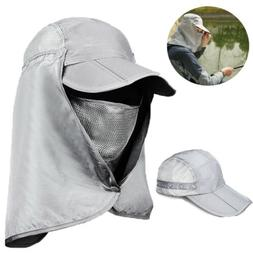 Men's Sun Cap Fishing Hats UV Protection Face Flap Cover Win