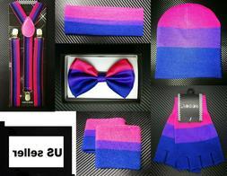 Men Women Bisexual Pride Flag Suspender Bow Tie Beanie Glove