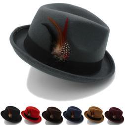 Men Women Fedora Hats Trilby Caps Homburg Jazz Felt Sunhat S