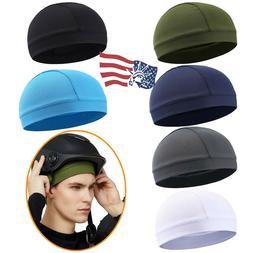Men Women Skull Caps Head Sweat Wicking Cap Helmet Liner Wra