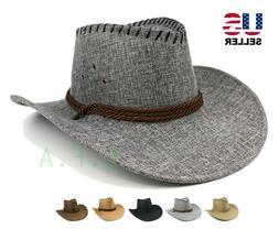 Mens Cowboy Fedora Hat Wide Brim Sun Visor Summer Fishing Ri