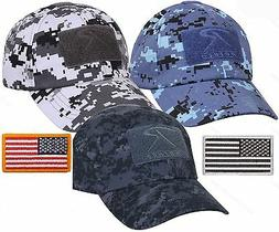Mens Digital Camouflage Tactical Cap & USA Flag Patch - Roth