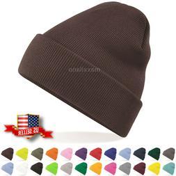 Mens Hat Ribbed Solid Plain Knit Ski Cap Warm Beanie Skull W