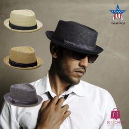 Men's Summer Porkpie Straw Fedora Hat Panama Short Brim Ha