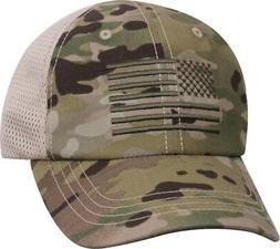 MultiCam Mesh Back Operator Cap with US Flag Military Hat Ar