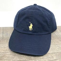 Polo Ralph Lauren Navy Dad Hat Yellow Pony Adjustable Strapb