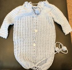 New Handmade Crochet Baby Boy Sweater, Hats, Mittens; Newbor