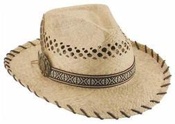 NEW DELIRIUM Natural Raffia Straw Western Fedora Cowboy BULL