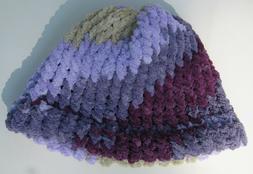 New Women's Handmade Knitted Beanie Hat Bernat Yarn Purple G