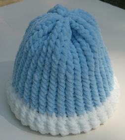 New Women's Handmade Knitted Beanie Santa Hat Blue White