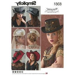 SIMPLICITY PATTERN 8361 STEAMPUNK VICTORIAN  HATS SIZES S-M-
