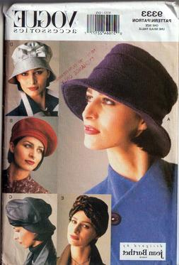 Vogue Pattern 9333 Accessories Misses Hats 5 Styles Designed
