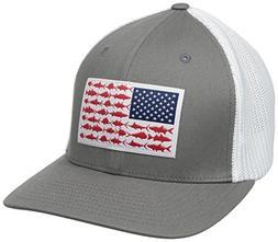 Columbia PFG Mesh Ball Cap, Titanium/Fish Flag, Large/X-Larg