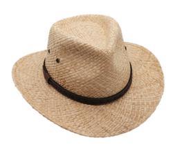 Raffia Straw Cowboy Western Fedora Sun Hat, Silver Canyon, N