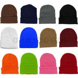 Solid Plain Beanie Hat Ski Cap Skull Knit Cuff Warm Slouchy